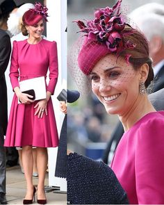 The Duchess of Cambridge looked lovely in a new magenta pink dress by go-to designer Alexander McQueen for Princess Eugenie and Jack's… Style Kate Middleton, Middleton Family, Prince William And Kate, William Kate, Princess Katherine, Royal Princess, Duchesse Kate, Magenta, Kate And Meghan