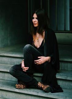 Dark jeans & leopard booties - Maja Wyh