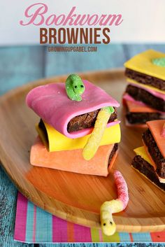 Turn boxed brownies or brownies from scratch in to adorable books with bookworms! Candy clay and gummy worms help make these after school snacks kids will love.