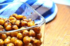 Sweet Roasted Chickpeas (sub agave with maple syrup)
