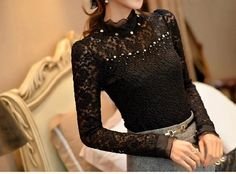 Soperwillton New 2016 Lace Blusas Femininas Shirt women Blouses Black Tops Plus Size Camisa Clothing Renda vestidos Vintage Dropshipping