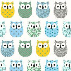 Tissu mini hiboux vert bleu jaune - Tissu chouettes - owl fabric - Tissu oiseaux - Tissu coton oeko tex - Nadege Tissus - 1/2 mètre