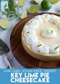 This Keto Key Lime Pie Cheesecake Is The Perfect Mix Between A Key Lime Pie And A Cheesecake. Utilizing Monkfruit To Bring Out The Summer Sweetness, This Recipe Is A Must-Try For The Weekend. Key Lime Pie Cheesecake, Cheesecake Recipes, Dessert Recipes, Dessert Ideas, Low Carb Dinner Recipes, Low Carb Desserts, Keto Recipes, Sweet Recipes, Keto Friendly Desserts