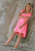 Daisy Jane by Lipstik Neon Pink w/Silver Sequin Streaks girls Dress