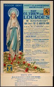 Bisdom Gent Oost-Vlaanderens bedevaart naar O.L.Vrouw van Lourdes:18e Zomerbedevaart van 3en 4 tot 12 augustus 1938 (Philosophy & ideology posters) #Booktower