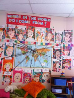 Map and placing children's portraits next to their family heritage country is a perfect way to add multicultural themes to the classroom