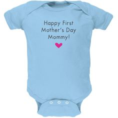 Happy First Mother's Day Mommy Light Blue Soft Baby One Piece | OldGlory.com
