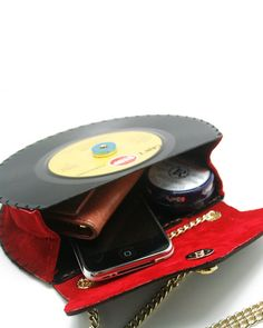 "7"" LP Retro Stylish Record handbag, Shoulder bag, Upcycled, Vintage, Vinyl records, Real leather, Red, Brown - Handmade Playful Accessories. $220.00, via Etsy. Vinyl Record Crafts, Vinyl Crafts, Vinyl Records, Handmade Handbags, Handmade Bags, Etsy Handmade, Upcycled Crafts, Upcycled Vintage, Retro"