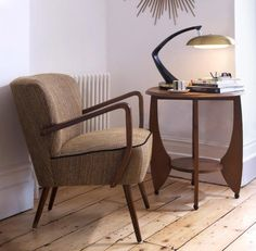 The shape of the table with that lamp. Remodelista-The Kula-&-Co-St-Leonards-on-Sea-East-Sussex-midcentury-chairs-FASE-lamps