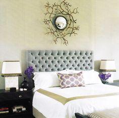 Tufted velvet headboard, accent pillow & stripe-banded duvet