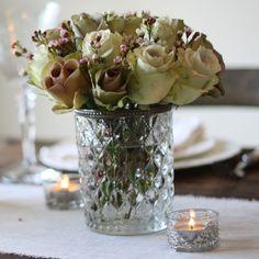 Grandma's Vase Pressed Glass Wedding Centrepiece - Round