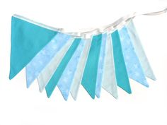Snowflake Blue & White Flag Bunting. Party by MerryGoRoundHANDMADE