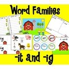 Word centers that allow students to practice -ig and-it words.  1. -it and -ig Animals (animals, barns for sortin, recording sheet)  2. Word ca...