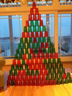 Great indoor game for kids!  Got cabin fever?  Just buy some solo cups and stack away!  We used red and green for the holidays and it kept the kids occupied for hours