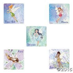 Dazzle with Tinker Bell, Silvermist, Iridessa, Rosetta and Fawn. Drop these Disney Fairies Stickers into party favor bags or hand the out as rewards f. Disney Fairies, Tinkerbell, Carnival Prizes, Party Favor Bags, Disney And Dreamworks, Pixie, Fairy Wings, Stickers, Fun
