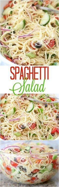 Spaghetti Salad recipe from The Country Cook. This a tried and true recipe that has been made for years. Spaghetti with Italian dressing with cheeses, veggies and special seasonings. Everyone loves it! From the country cook Pot Pasta, Pasta Dishes, Vegetarian Recipes, Cooking Recipes, Healthy Recipes, Vegetarian Barbecue, Simple Recipes, Cooking Ideas, Beste Cocktails