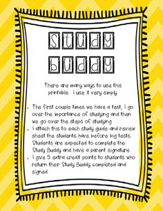 Study Buddy - A printable to help students study! from OnceUponACreativeClassroom on TeachersNotebook.com -  (4 pages)  - Study Buddy - A printable to help students study!