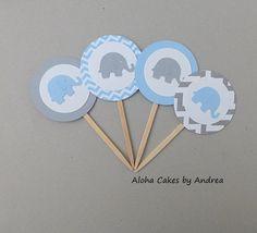 Azul y gris elefante bebé ducha Elephant por AlohaCakesbyAndrea