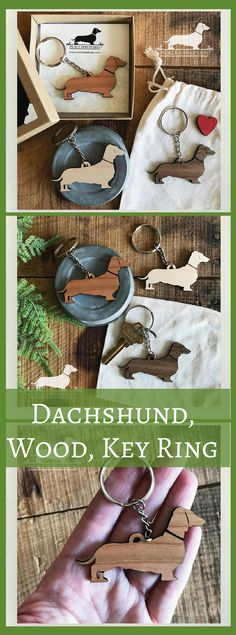 Doxie. Keychain -- (Dachshund, Wood, Key Ring, Vintage-Style, Sausage Dog, Wiener Dog, Choose Your Color, Christmas Gift, Stocking Stuffer) #dachshund #gifts #affiliate