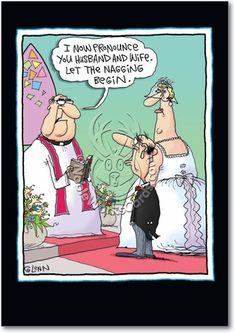 Let Nagging Begin Naughty Funny Congratulations Card Nobleworks Cartoon Jokes, Funny Cartoon Pictures, Humorous Pictures, Memes Humor, Funny Memes, Humor Viejo, Alter Humor, Old Age Humor, Senior Humor