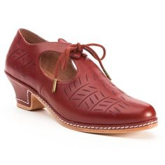 "American Duchess ""Stratford"" #Elizabethan Shoes in oxblood are the perfect finish to your #Renaissance Fair costume, whether you are depicting the nobility or middle class. The design for ""Stratford"" was developed by Francis Classe. Based on original 16th c. shoes. @Ashmolean Museum"