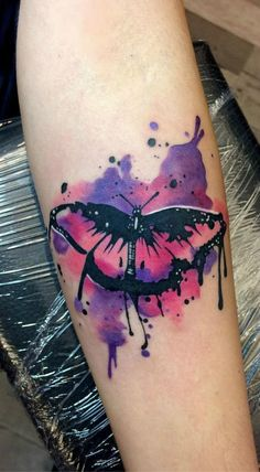Watercolor Butterfly Tattoo, Butterfly Tattoos Images, Butterfly Tattoo Cover Up, Butterfly Tattoo On Shoulder, Butterfly Tattoo Designs, Cute Butterfly, Tattoo Images, Watercolor Tattoos, Watercolour