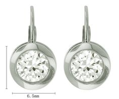 Platinum-Plated Sterling Silver Round Cubic Zirconia Earrings (3.8 cttw)