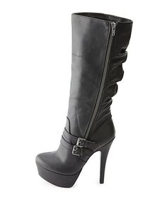 Slouchy Belted Side-Zip Platform Stiletto Boots: Charlotte Russe