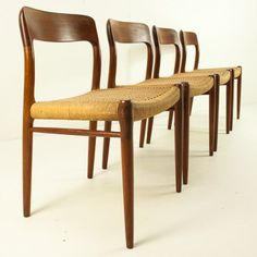Set of 4 No. 75 dinner chairs from the fifties by Niels Otto Møller for J L Møller