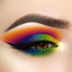 """WEBSTA @ giuliannaa - ❤️Rainbow eyesI have a eye vid tutorial for this look I will upload this week along with a vid for the eye look in my last post⭐️ @sugarpill eyeshadows (orange, red, purple, blue, green)⭐️ @suvabeauty cupcakes and monsters palette (green, yellow)⭐️ @makeupstore felt tip liner, you'll see how amazing it applies when I upload the vid! (GIULS20 )⭐️ @doseofcolors """"lemon drop"""" eyedeal duo⭐️ @hidaya.lashes """"famous""""⭐️ @nyxcosmetics hot pink eyeshadow •••#sugarpil"""