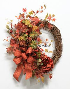 Fall Wreath Autumn Wreath Fall Home Decor Front by TheWreathShed