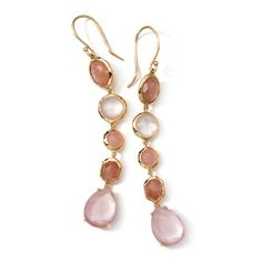 Ippolita 18K Gold Rock Candy Gelato 5-Tier Drop Earrings-Brown Moonstone, Guava Quartz, Pink Mother-of-Pearl, Rose Quartz, Tulle