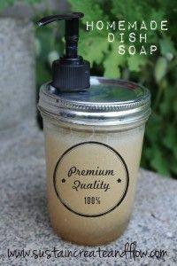 A Recipe for Homemade Dish Soap.     (No vinegar!  Don't mix vinegar with Castille soap.   Best recipe I've found!