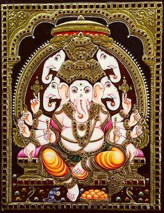 Pancha Mukhi Ganapati Tanjore Art Thanjavur Art Panjamuga Vinayagar Tanjore Painting 5 heads and 10 hands. A magnificent representation of Ganesha with all the weapons ft x 1 ft Up for sale Chola Impressions exclusive collection Shiva Art, Ganesha Art, Hindu Art, Shri Ganesh, Shiva Hindu, Shiva Shakti, Om Namah Shivaya, Om Gam Ganapataye Namaha, Mysore Painting