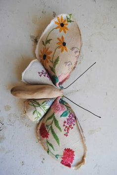 Vintage style mushrooms and butterflies decorations look precious. Made of a piece of recycled cotton or kimono silk, these beautiful decorative accessories are hand stitched. Flaws and odd stitching are expected and celeb...