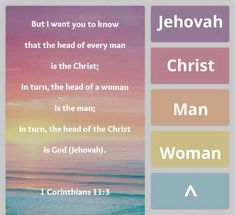 1 Corinthians 11:3 ~ But I want you to know that the head of every man is the Christ; in turn, the head of a woman is the man; in turn, the head of the Christ is God (Jehovah). Also Ephesians 6:1-4