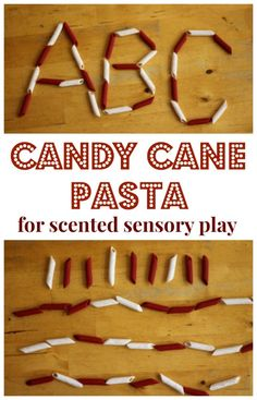 How to make candy cane scented pasta and some great Christmas sensory play ideas.
