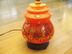 Lamp Orange Gilded Floral Vintage Very good Works by ChinaGalore