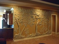 Gypsum plaster wall sculpture by Tom Moberg Plaster Art, Plaster Walls, 3d Wall, Wall Art, Wall Design, House Design, Underground Homes, Natural Building, Earthship