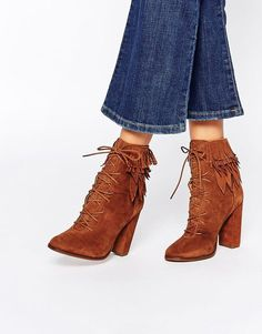 River Island | River Island Suede Lace Up Heeled Boot at ASOS