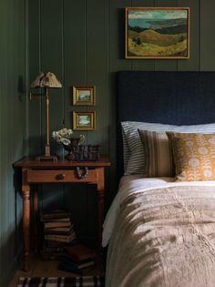 New Lake House Bedroom Green Best Bedroom Colors, Bedroom Green, Olive Green Bedrooms, Khaki Bedroom, Olive Bedroom, Dark Wood Bedroom, Home Decor Bedroom, Bedroom Ideas, Diy Bedroom