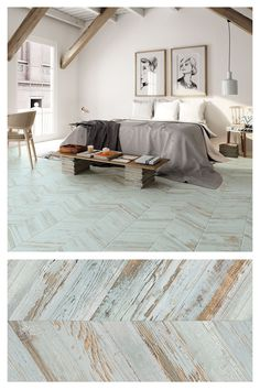 Chevron patterns are a huge design trend! These BoCoCa tiles have a reclaimed, aged, painted effect design! Huge Design, Wood Effect Tiles, Feature Tiles, Chevron Patterns, Paint Effects, Wall And Floor Tiles, Bedroom Flooring, White Tiles, Wooden Flooring