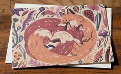 """Greeting Card - Fox Snuggle Single card, blank inside Measures 4.25"""" x 5.5"""" Printed with soy inks on 60% tree free recycled paper Printed in the USA"""