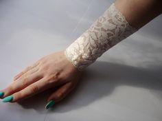Lace Ecru bracelet Lace Wrist Cuff Ecru Strech by IskaCreations Ecru Color, Wedding Bracelet, Boho Fashion, Cuff Bracelets, Trending Outfits, My Style, Unique Jewelry, Lace, Handmade Gifts