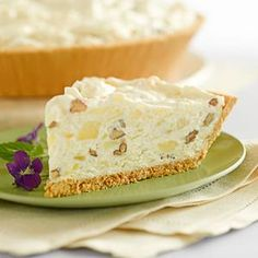Million dollar pie; This is one of my favorites, and very simple to make!  1 can crushed pineapple  1 container Cool Whip 1 can sweetened condensed milk  1/3 c. lemon juice  1 c. pecans, chopped  1 graham cracker crust  Mix it well. Pour into crust. Chill.