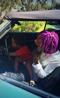 Wiz Khalifa, Sporting Purple Rain Hair, and Amber Rose Share Photos of Son After Breakup?See the Pics!