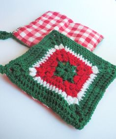 Christmas Trivets in Red Green and White Crochet by luvbuzz, $20.00