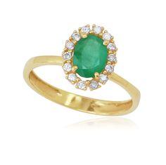 Anel em Ouro 18K com Esmeralda e Diamantes - JoiasBrasil