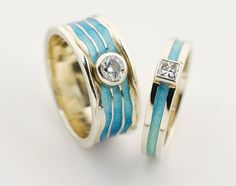 Beautiful handmade wedding bands by Alchemia Jewellery, St Andrews Scotland. Turquoise, enamel and diamond rings