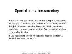 Special education secretary Situational Interview Questions, Management Interview Questions, Interview Questions And Answers, Job Interview Tips, Interview Thank You Letter, Good Resume Examples, Phone Interviews, Job Search Tips, Cover Letter Example